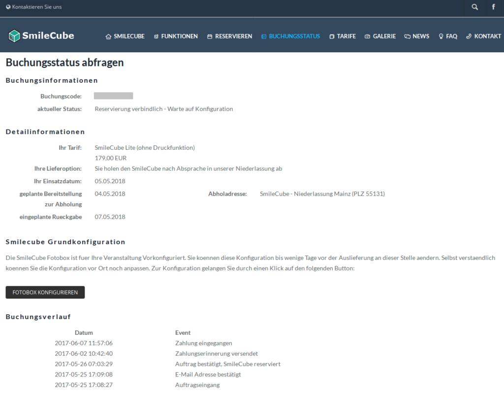 SmileCube vorkonfigurieren - Buchungsverlauf anzeigen