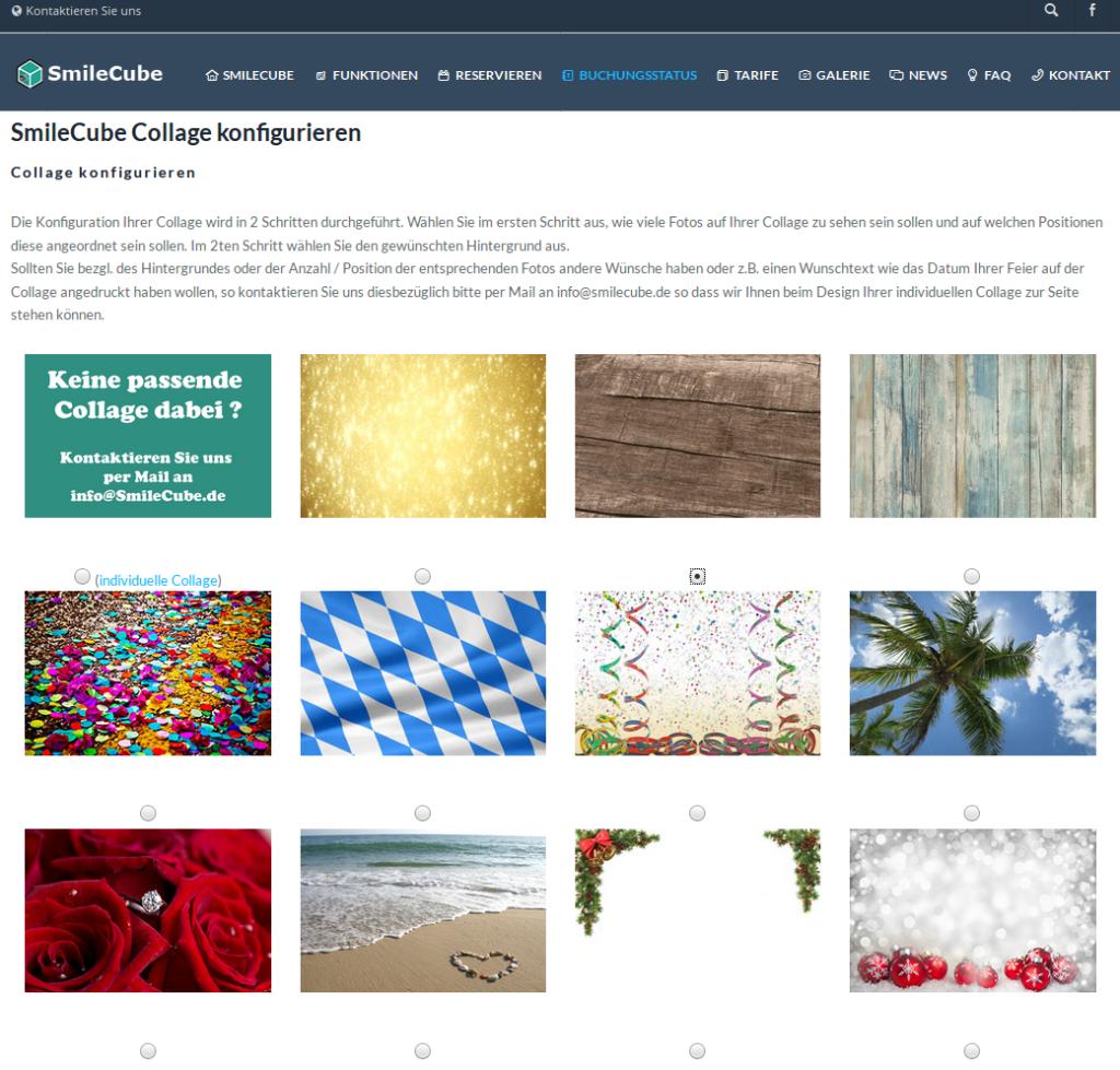 SmileCube vorkonfigurieren - Fotohintergrund wählen